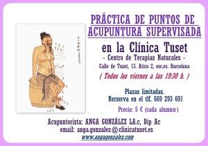 PRÁCTICA DE PUNTOS DE ACUPUNTURA SUPERVISADA EN CLINICA TUSET
